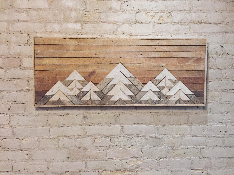Reclaimed Wood Wall Art Wall Decor Twin Headboard Lath in Wood Wall Art
