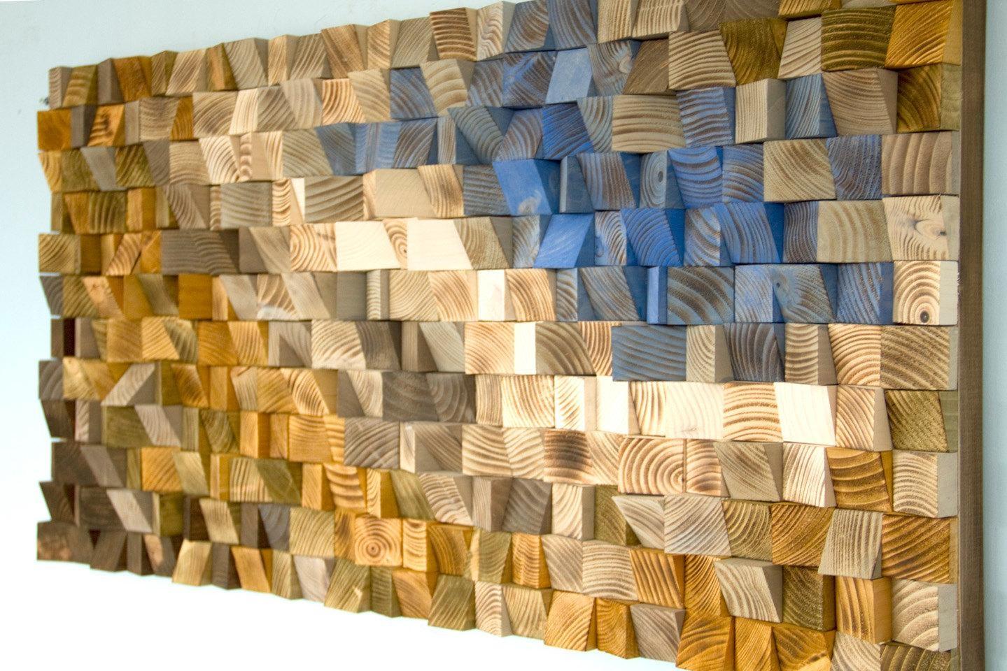 Reclaimed Wood Wall Art, Wood Mosaic, Geometric Art, Wood Wall Art throughout Wood Wall Art