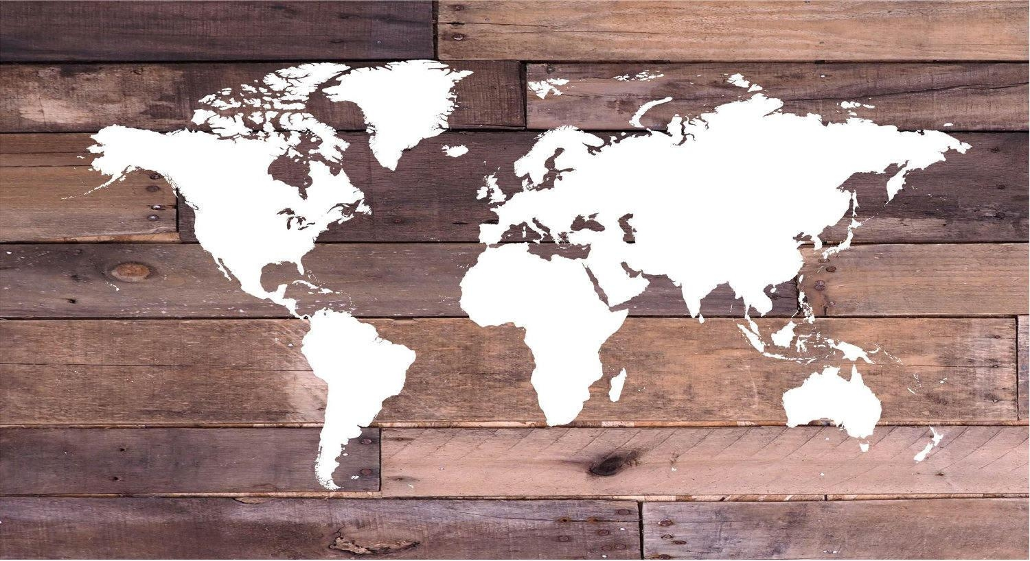 Reclaimed Wood World Map Wall Art Canvas Wall Art, Wood Sign Inside Nautical Canvas Wall Art (View 18 of 20)