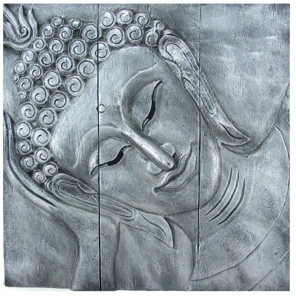 """Reclining Buddha Wall Art 60Cm X 60Cm (24"""" X24"""") Old Silver Inside Silver Buddha Wall Art (View 3 of 20)"""
