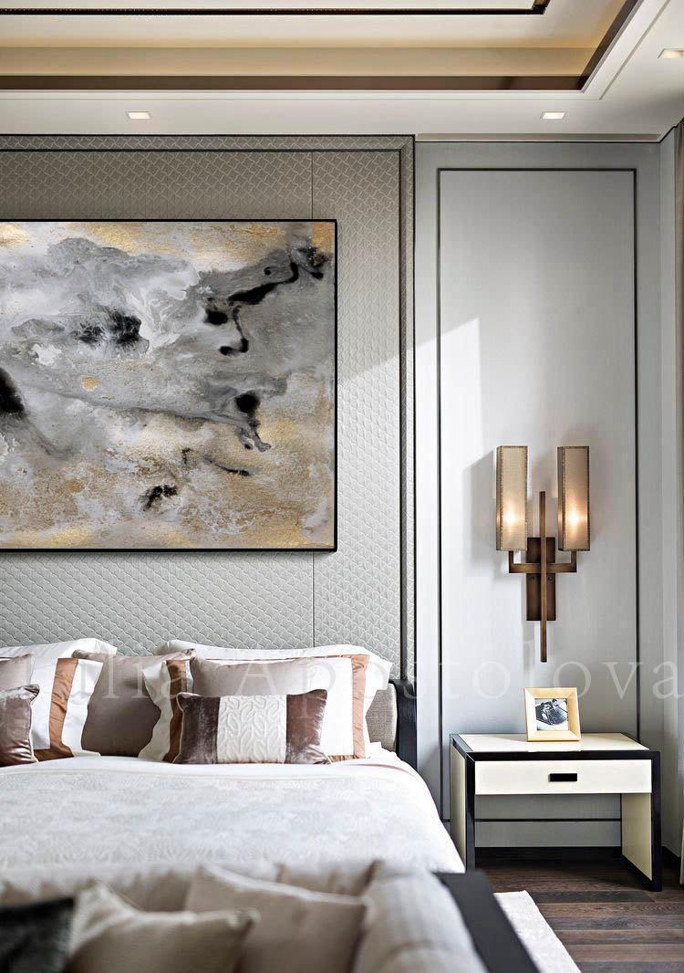 Rectangle Wall Art Gold Leaf Print Large Abstract Canvas Pertaining To Silver And Gold Wall Art (View 16 of 20)