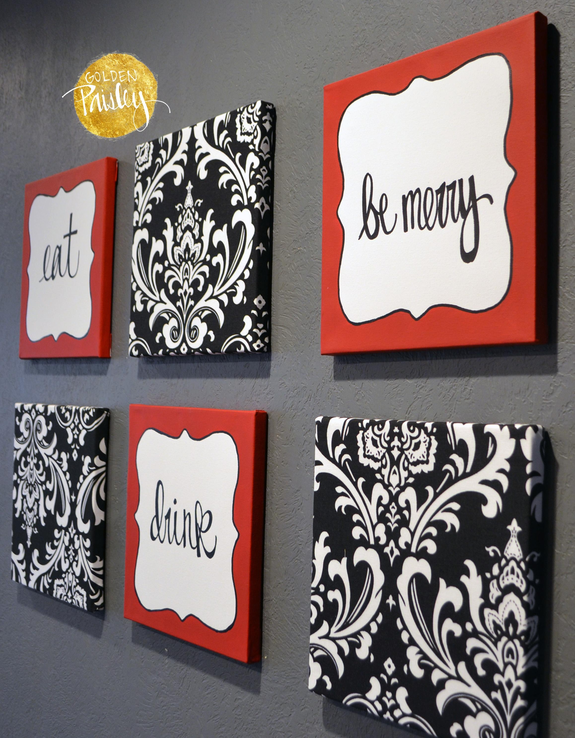 "Red And Black Damask Eat Drink Be Merry ""Chef"" Wall Decor Set In Black And White Damask Wall Art (Image 12 of 20)"