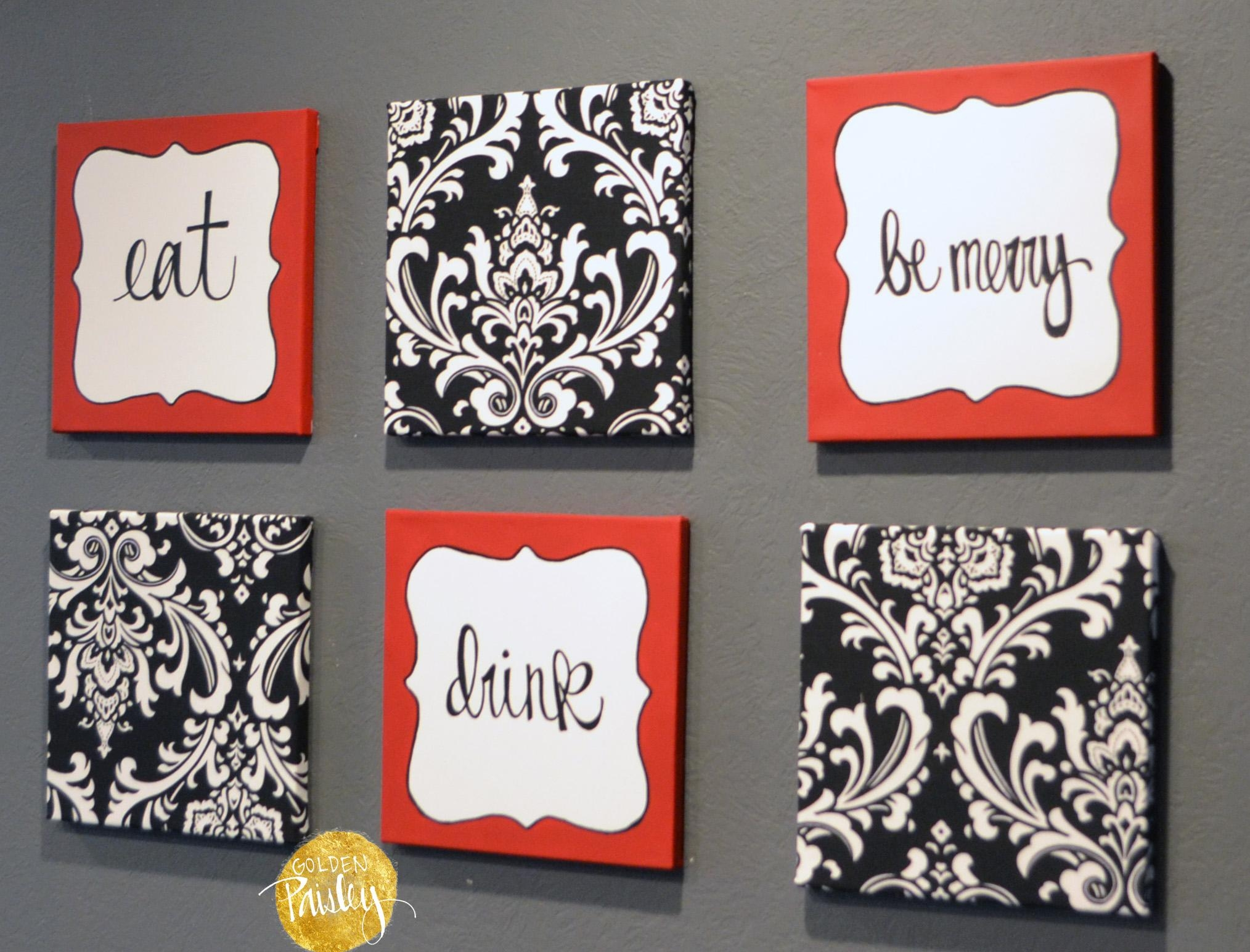 "Red And Black Damask Eat Drink Be Merry ""Chef"" Wall Decor Set Intended For Black And White Damask Wall Art (Image 13 of 20)"