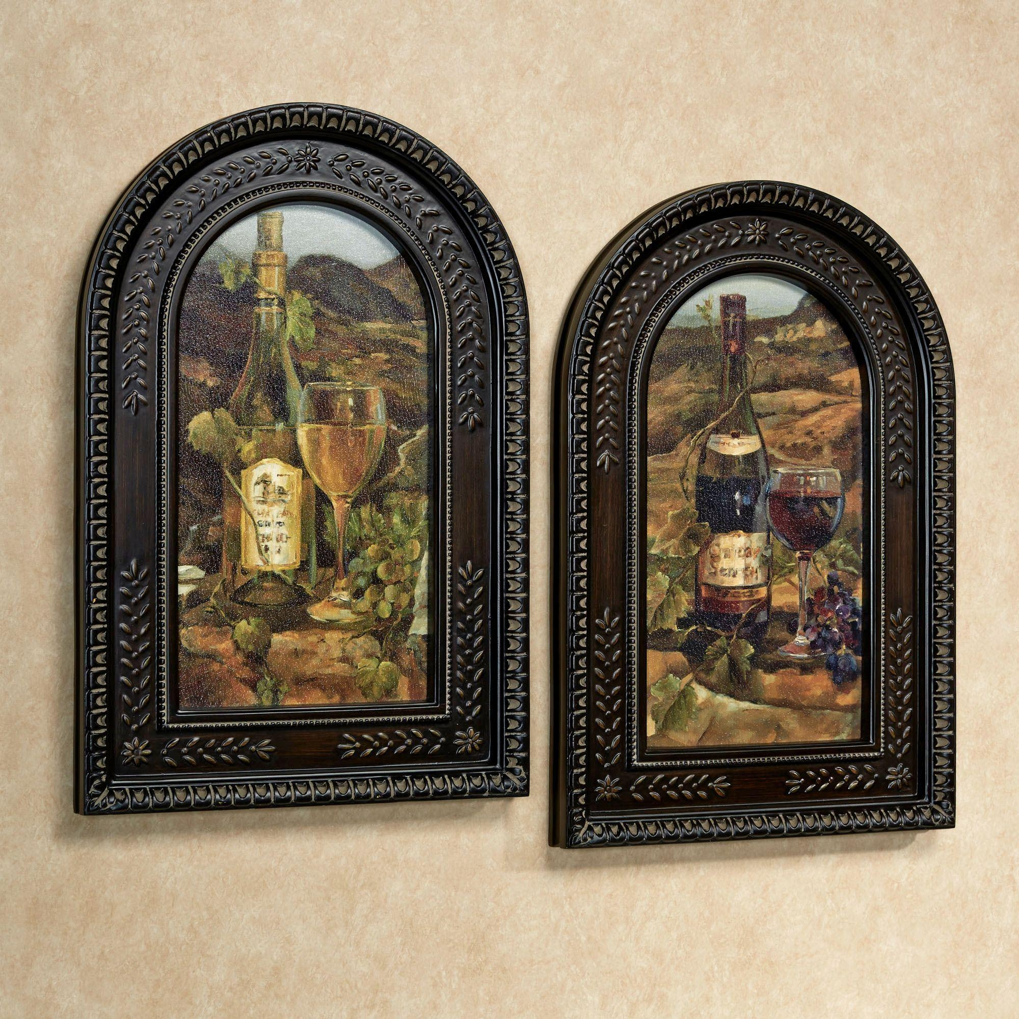 Red And White Wine Framed Wall Art Set pertaining to Brown Framed Wall Art