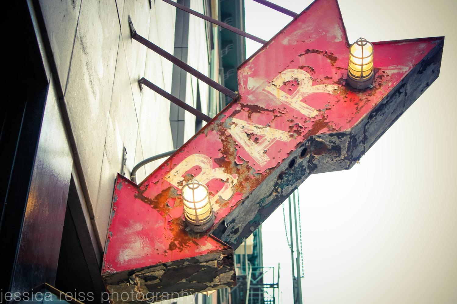 Red Bar Sign Art Print Bar Decor Photograph Vintage Rustic pertaining to Large Vintage Wall Art
