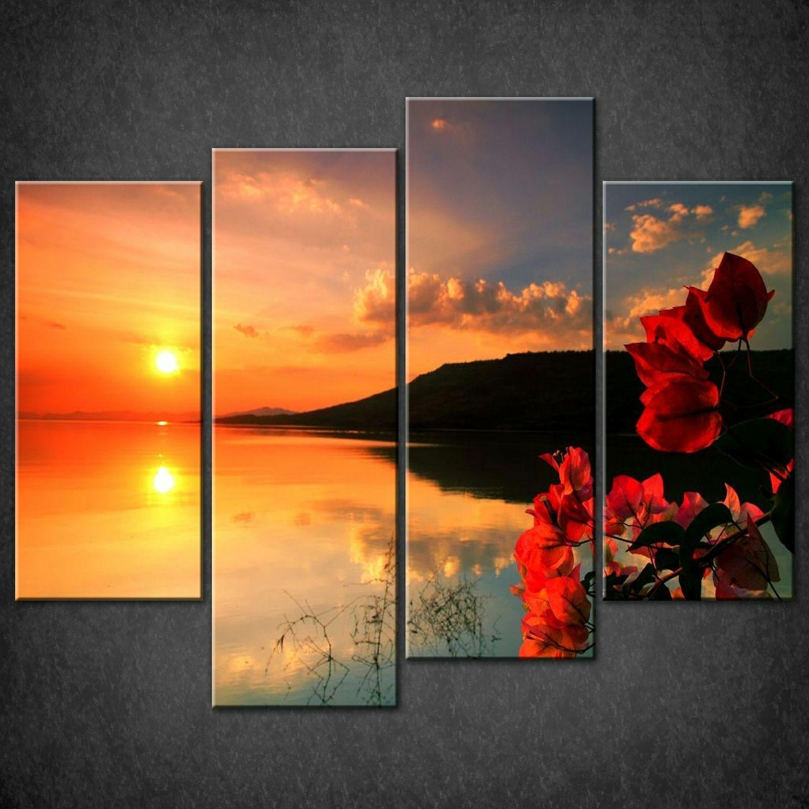 Red Calm Sunset Split Canvas Wall Art Pictures Prints Larger Sizes For Split Wall Art (Image 12 of 20)