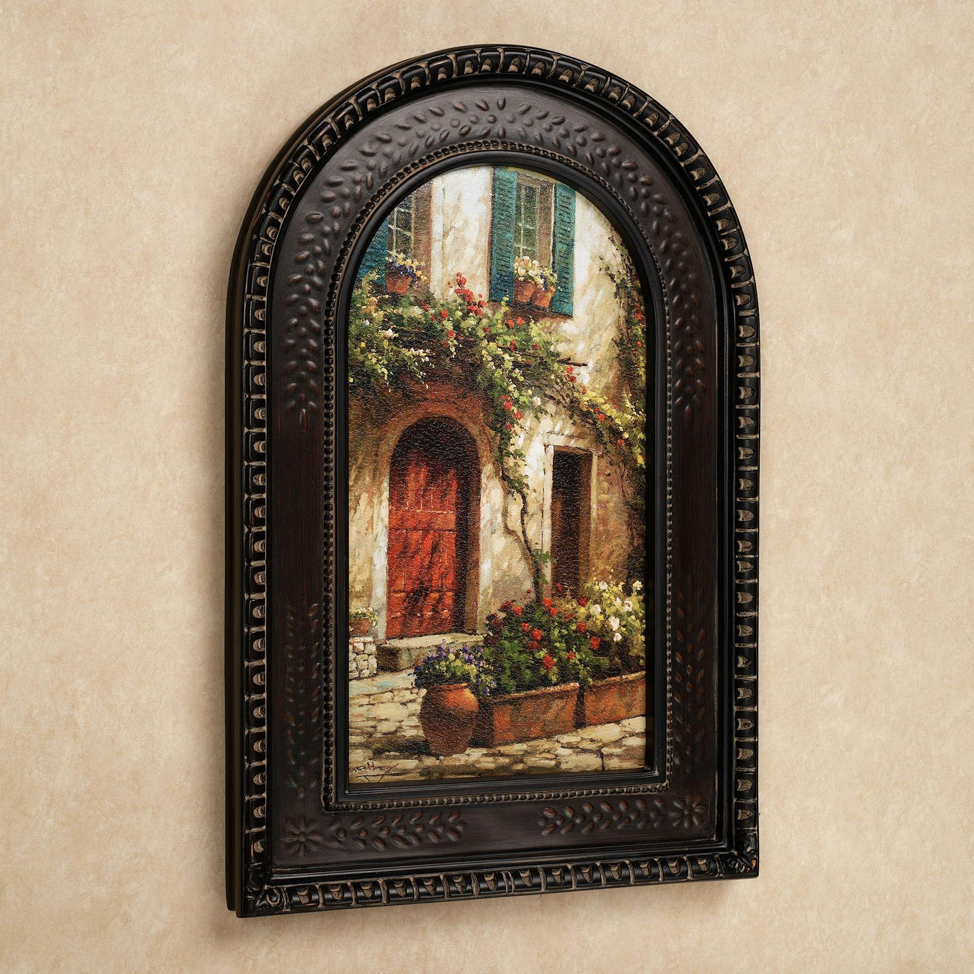Red Door Italian Scene Arched Framed Wall Art for Brown Framed Wall Art