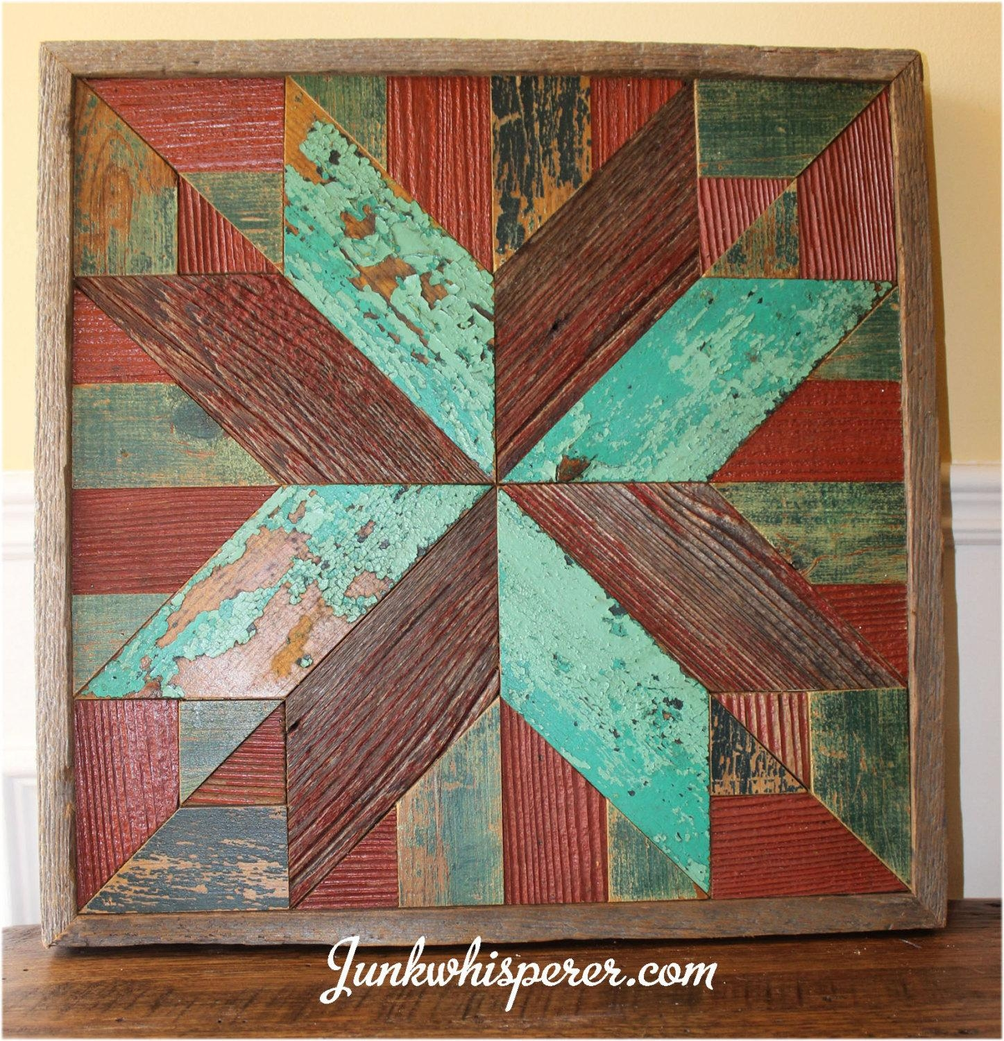 Red Green Star Holiday Quilt Wood Wall Art Wooden Wall Hanging with Red and Turquoise Wall Art
