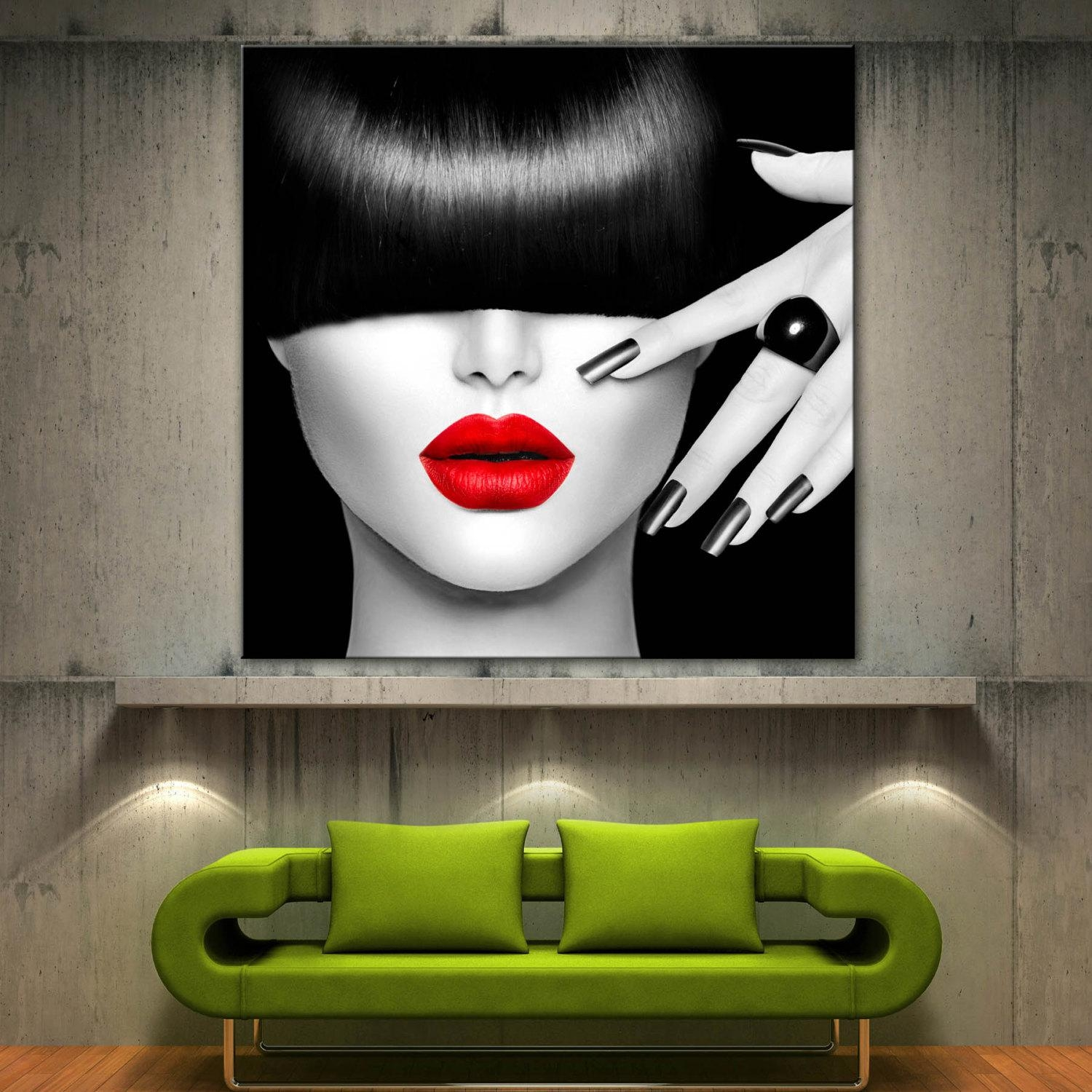 Red Lips Face Modern Home Decor Fine Wall Art Black White within Black and White Wall Art With Red