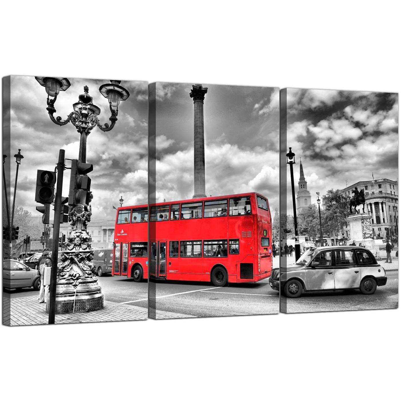 Red London Bus Canvas Prints Set Of 3 For Your Bedroom Within London Scene Wall Art (Image 16 of 20)