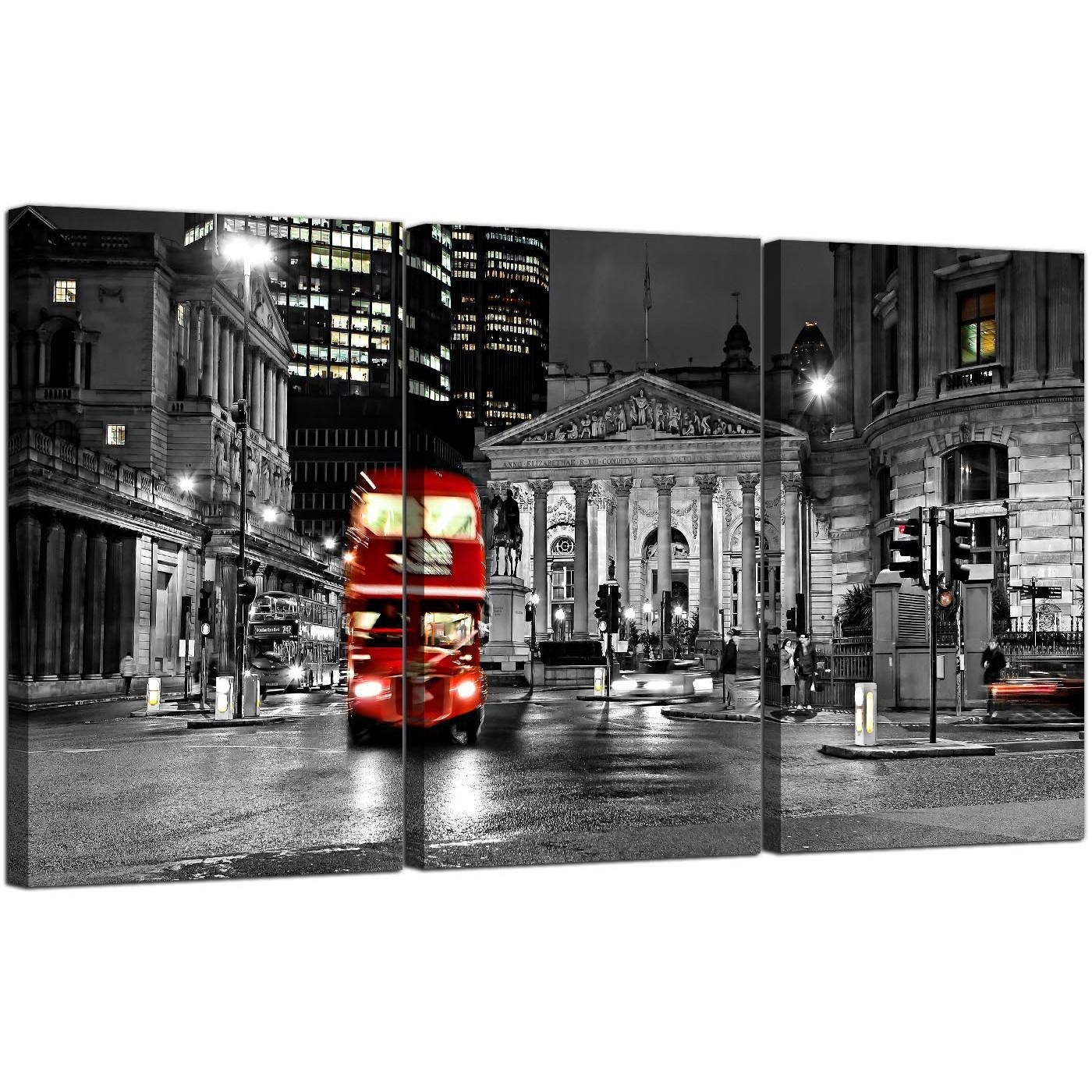 Red London Bus Canvas Wall Art 3 Panel For Your Living Room In Cityscape Canvas Wall Art (View 3 of 20)