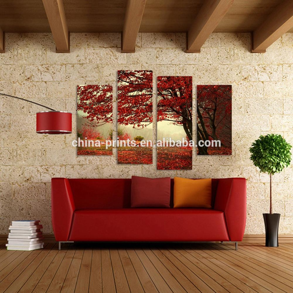 Red Maple Tree Floral Landscape Canvas Wall Art Picture Multi 4 Throughout Split Wall Art (Image 13 of 20)