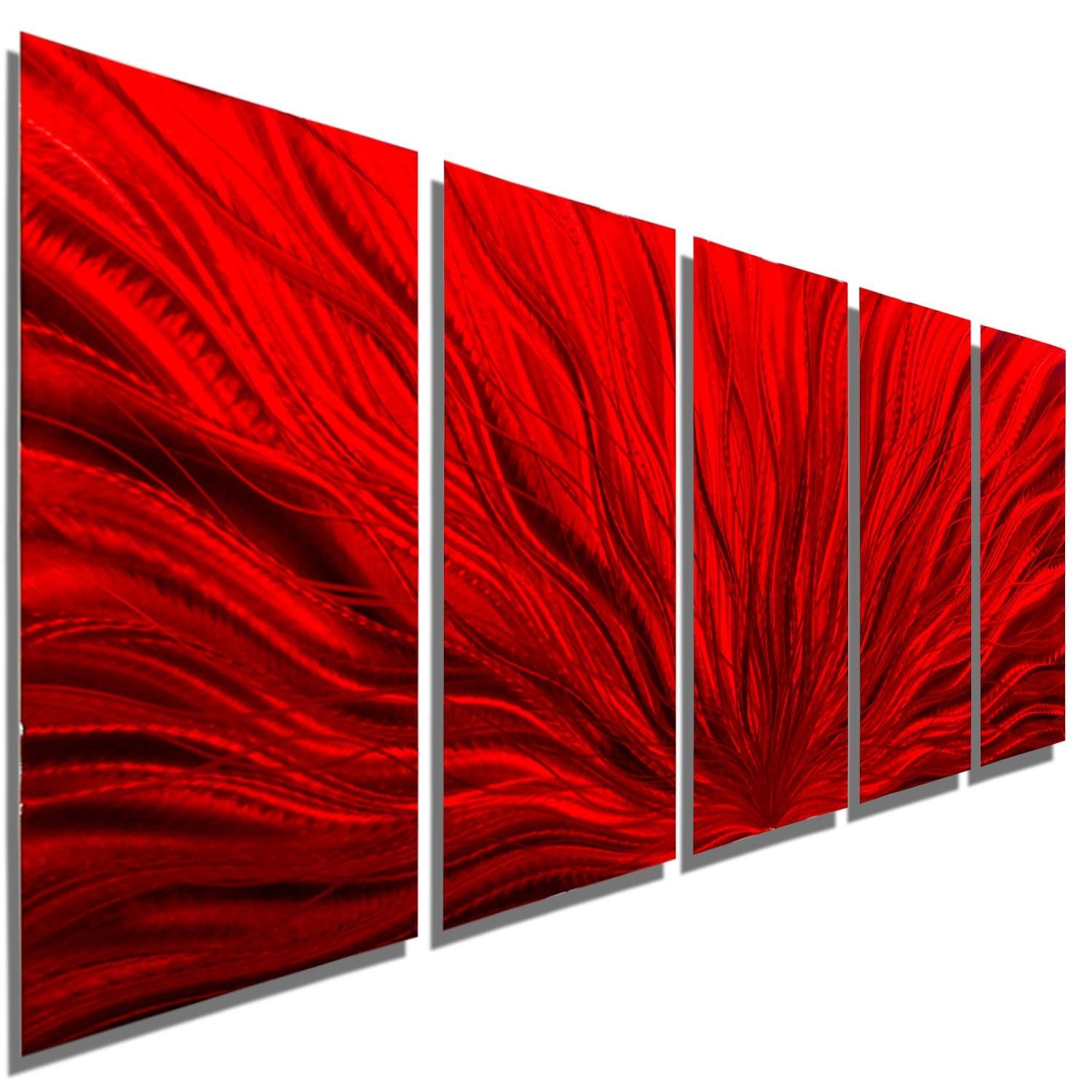Red Plumage – Extra Large Modern Abstract Metal Wall Artjon Throughout Large Abstract Metal Wall Art (Image 17 of 20)