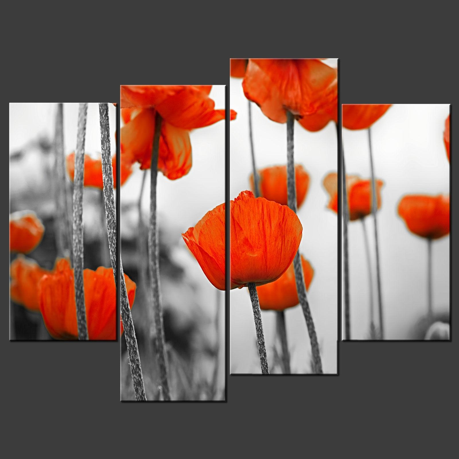 Red Poppies Field Canvas Wall Art Pictures Prints Larger Sizes throughout Red Poppy Canvas Wall Art