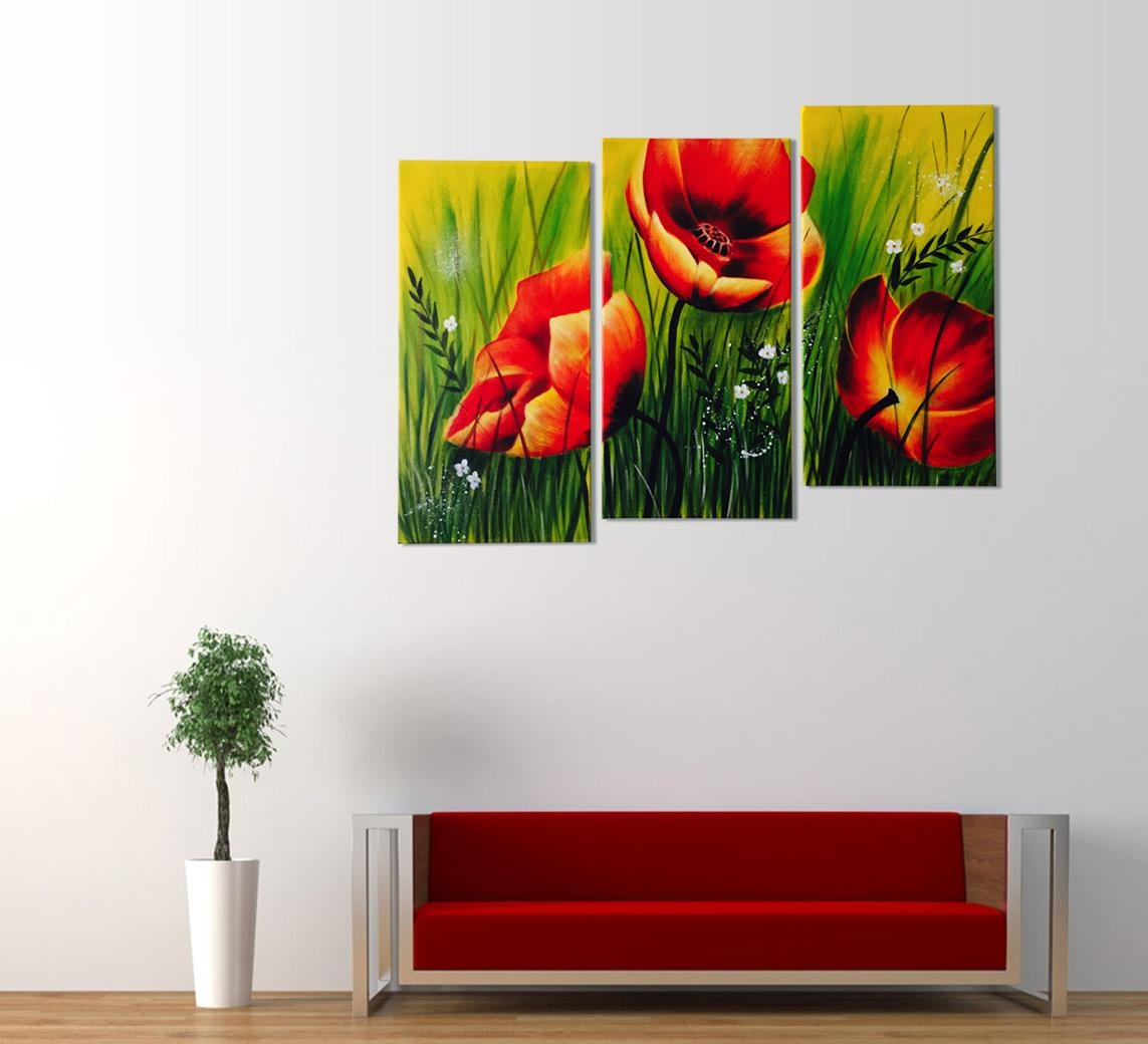 Red Poppies Floral Acrylic Painting 3 Piece Wall Art Throughout Wall Art Multiple Pieces (View 5 of 20)