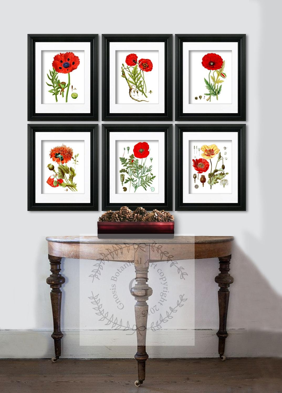 Red Poppy Decor Botanical Prints Red Flowers Poppy Wall Art In Wall Art Print Sets (Image 8 of 20)