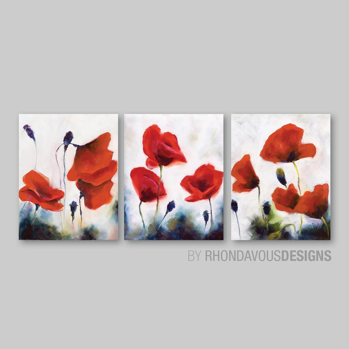 Red Poppy Wall Art. Red Poppy Painting Reprint. Home Decor. throughout Red Poppy Canvas Wall Art