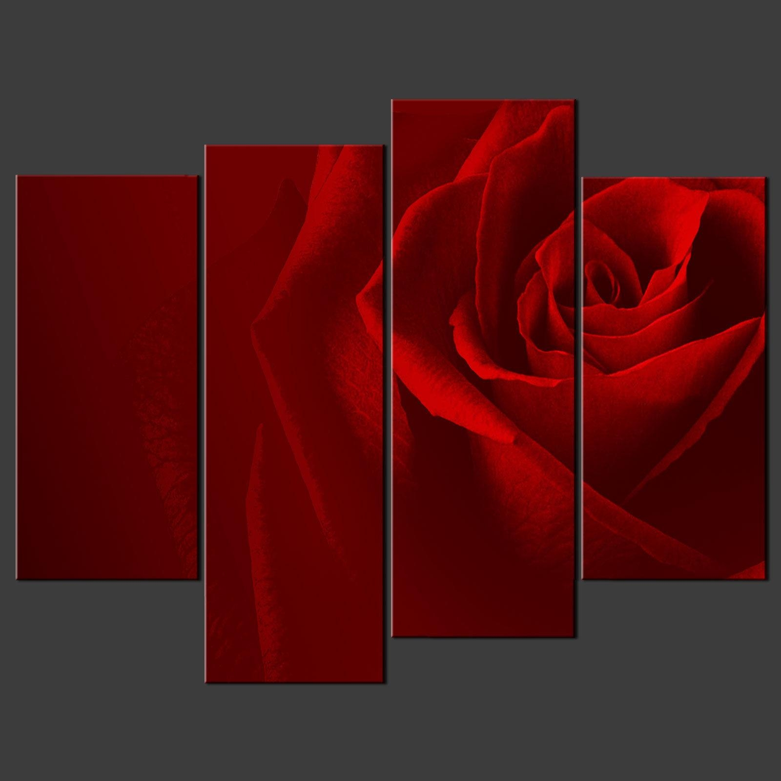 Red Rose Canvas Wall Art Pictures Prints Decor Larger Sizes Within Red Rose Wall Art (View 4 of 20)