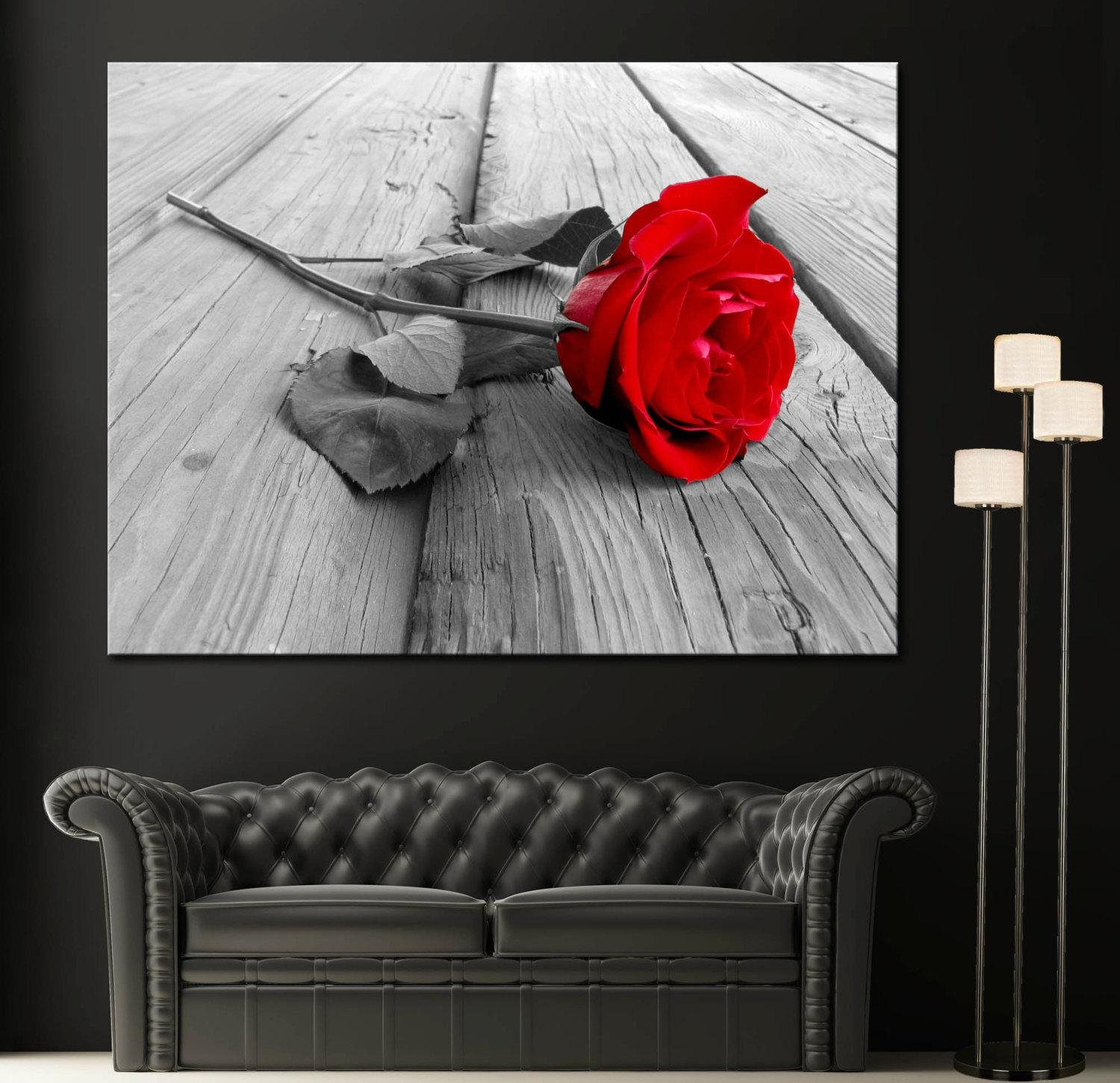 Red Rose Modern Home Fine Black White Wall Art Canvas Giclee In Red Rose Wall Art (Image 16 of 20)