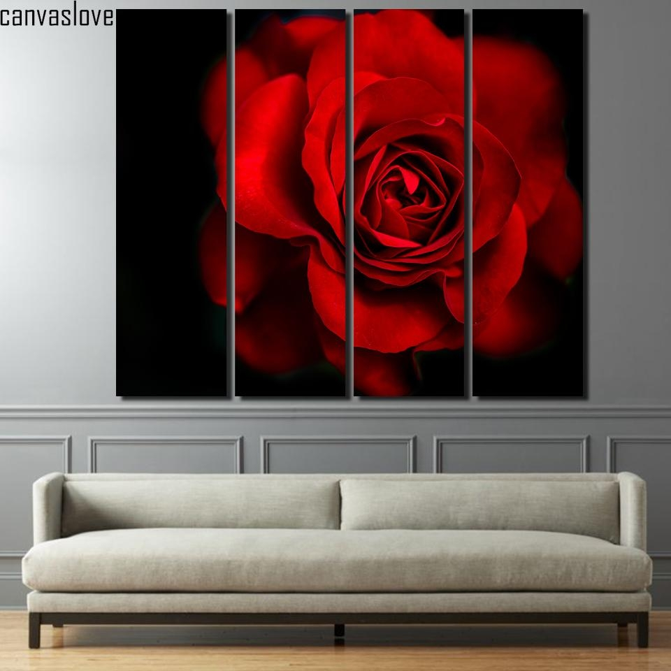 Red Rose Painting Promotion Shop For Promotional Red Rose Painting Pertaining To Red Rose Wall Art (Image 17 of 20)