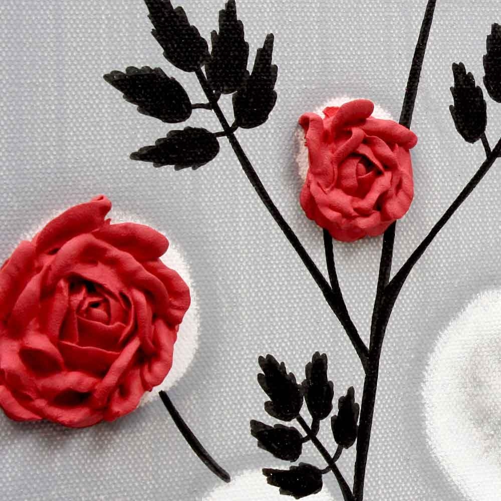 Red Rose Wall Art Painting On Gray And Black Canvas – Small | Amborela Pertaining To Red Rose Wall Art (View 7 of 20)