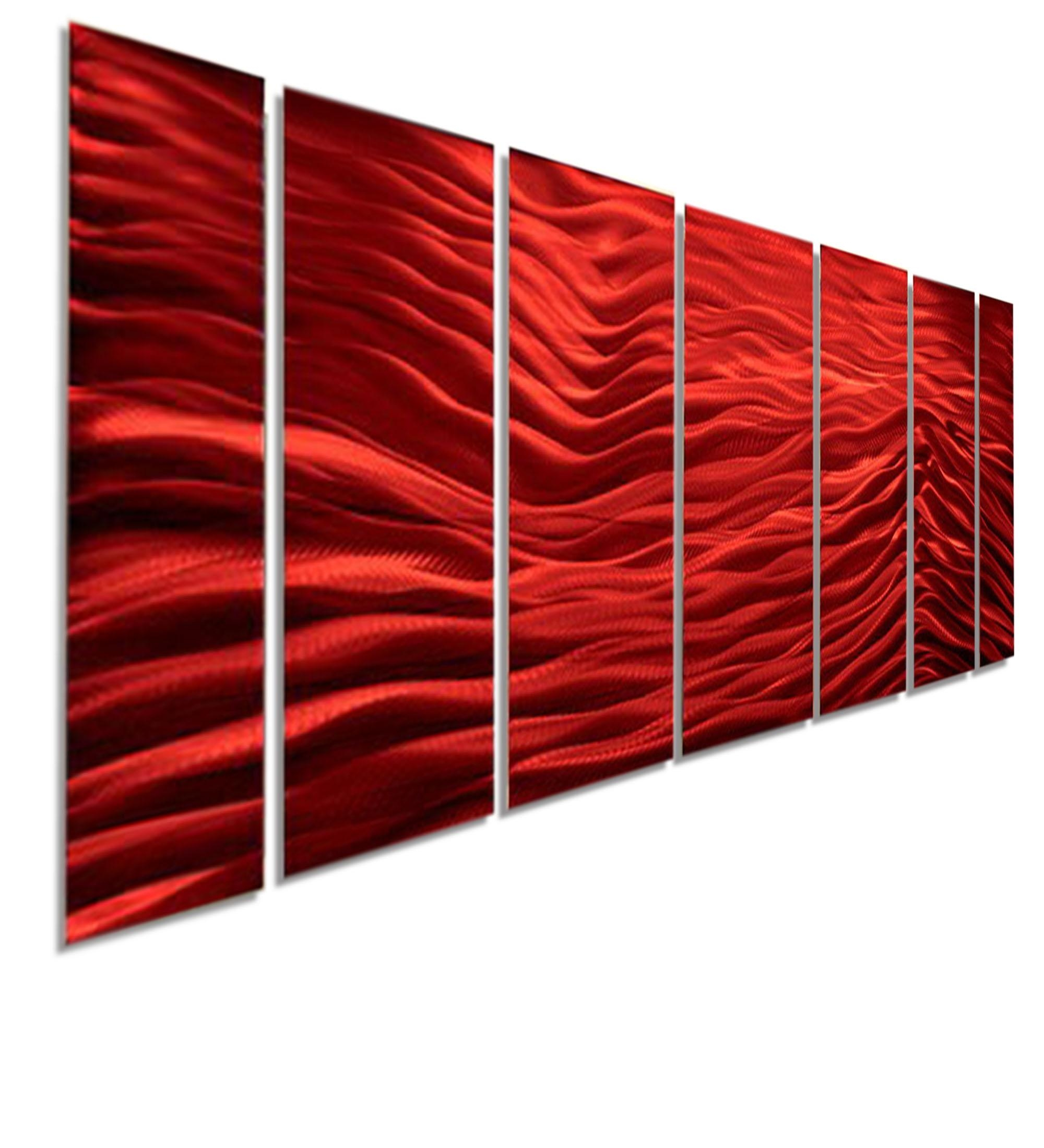 Red Wave Ii Xl – Extra Large Modern Contemporary Metal Wall Art Pertaining To Large Modern Wall Art (View 14 of 20)