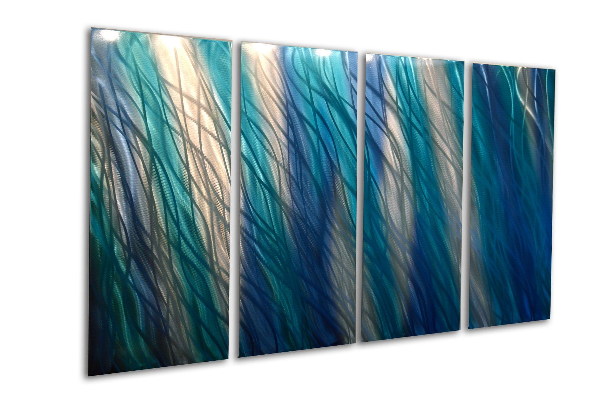 Reef Blue 36X63 – Metal Wall Art Abstract Sculpture Modern Decor With Blue And White Wall Art (View 19 of 20)