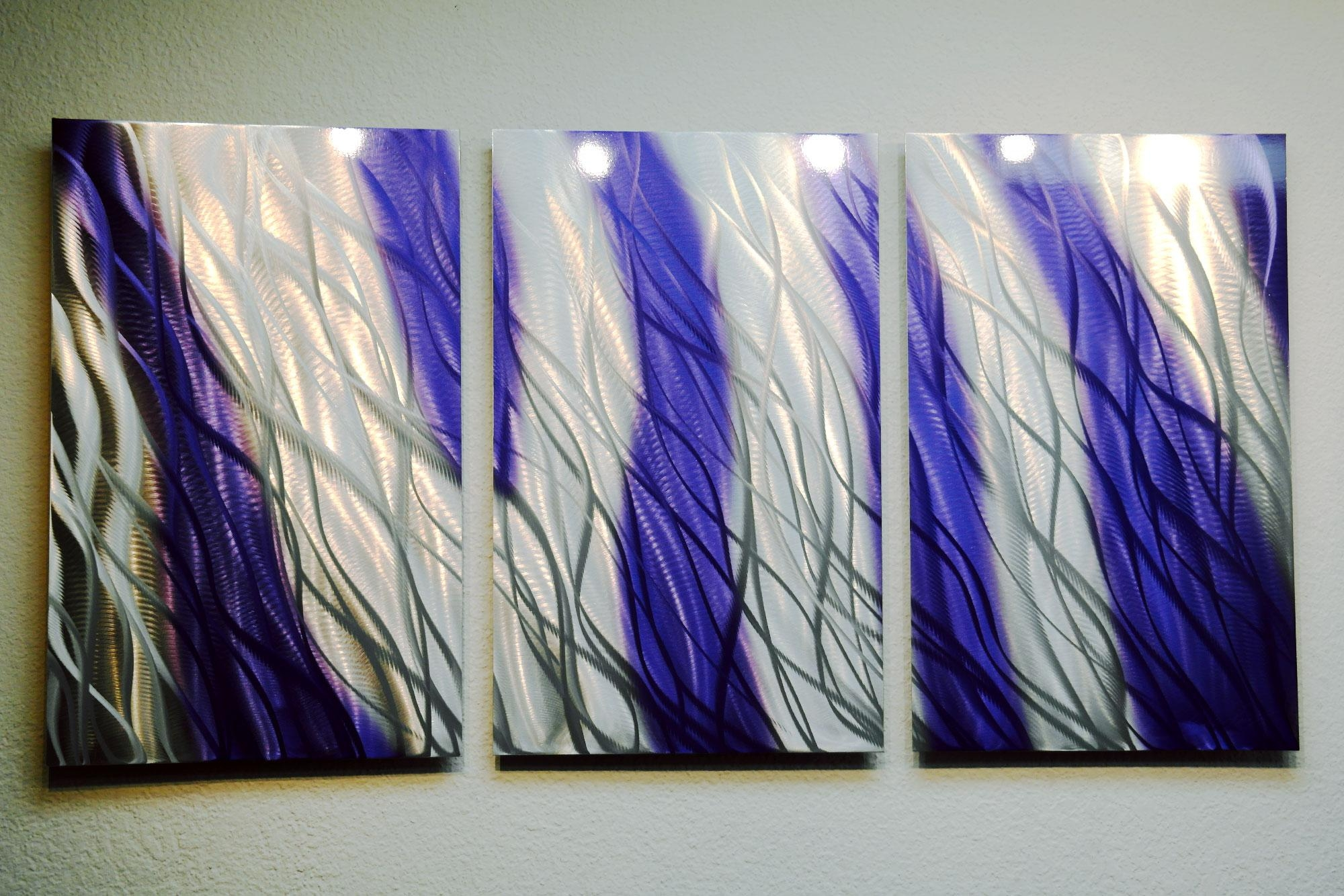 Reef Purple Blue 47 – Metal Wall Art Abstract Sculpture Modern Within Purple Abstract Wall Art (Image 16 of 20)