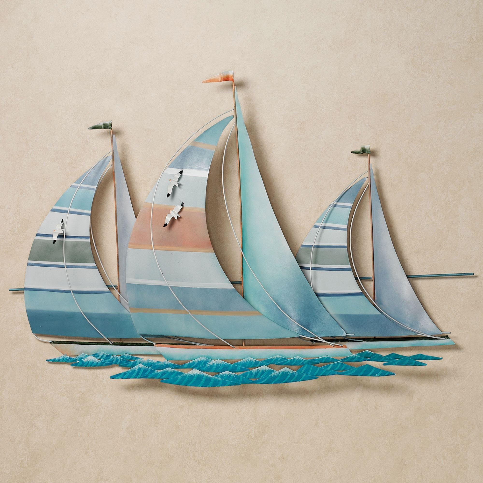 Regatta Finish Line Multi Cool Metal Sailboat Wall Sculpture intended for Metal Sailboat Wall Art