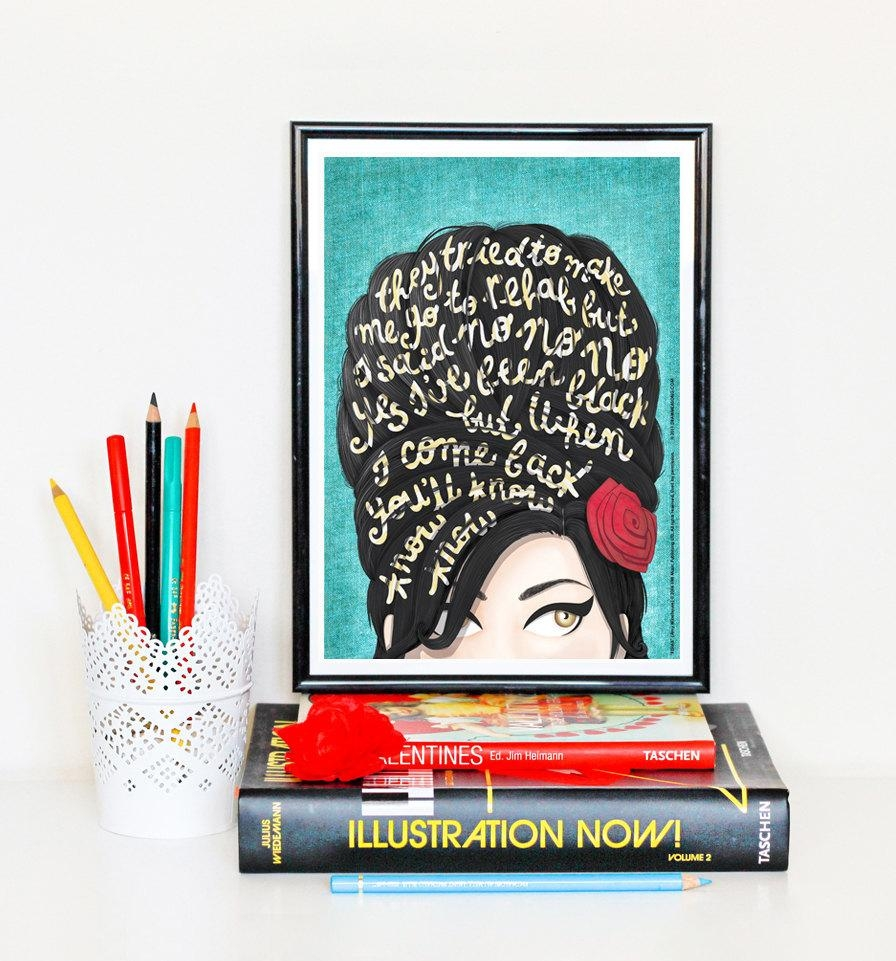 Rehab Amy Winehouse Music Poster Typography Lyrics Amy Inside Music Lyrics Wall Art (View 13 of 20)