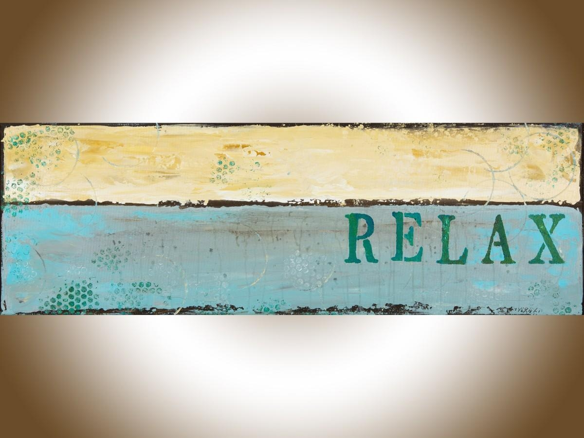 """Relax 2Qiqigallery 36""""x12"""" Modern Abstract Painting Abstract for Blue and Cream Wall Art"""