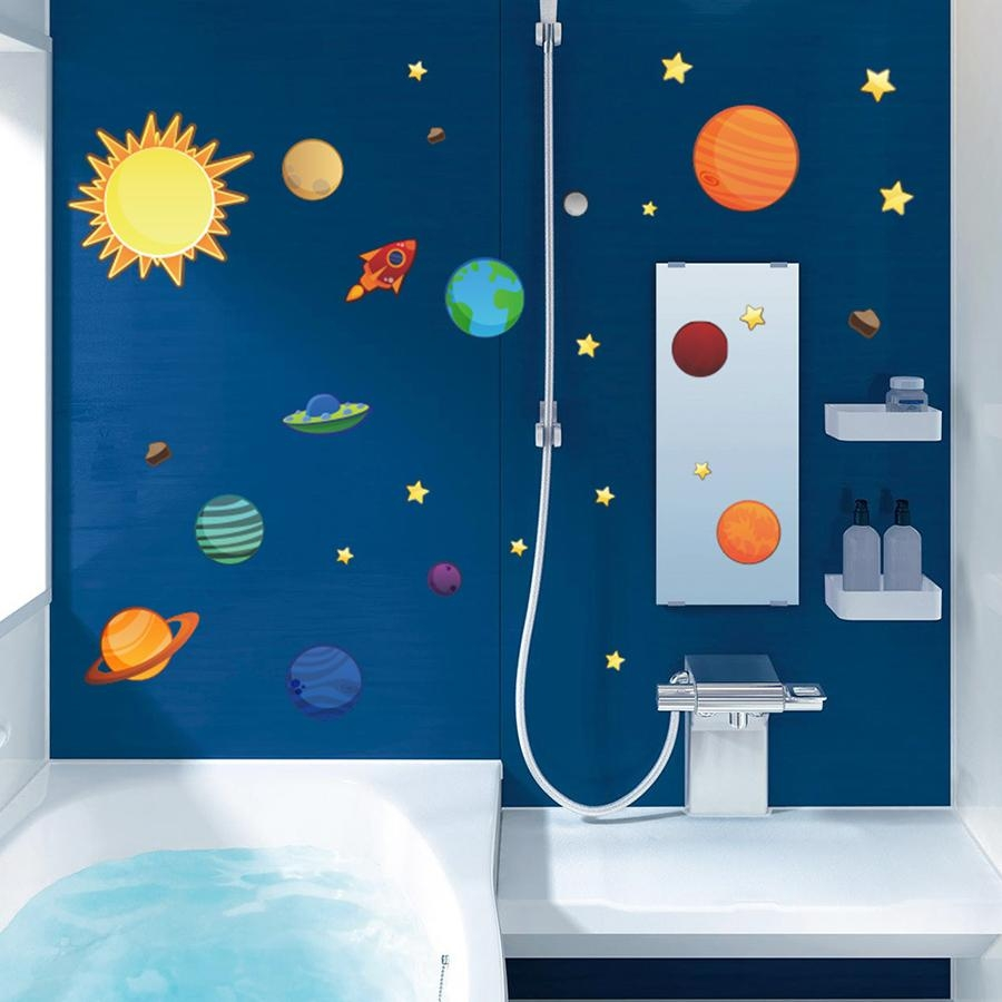 Removable Wall Decal Solar System Planet Diy Wallpaper Art Decals Throughout Solar System Wall Art (Image 9 of 20)
