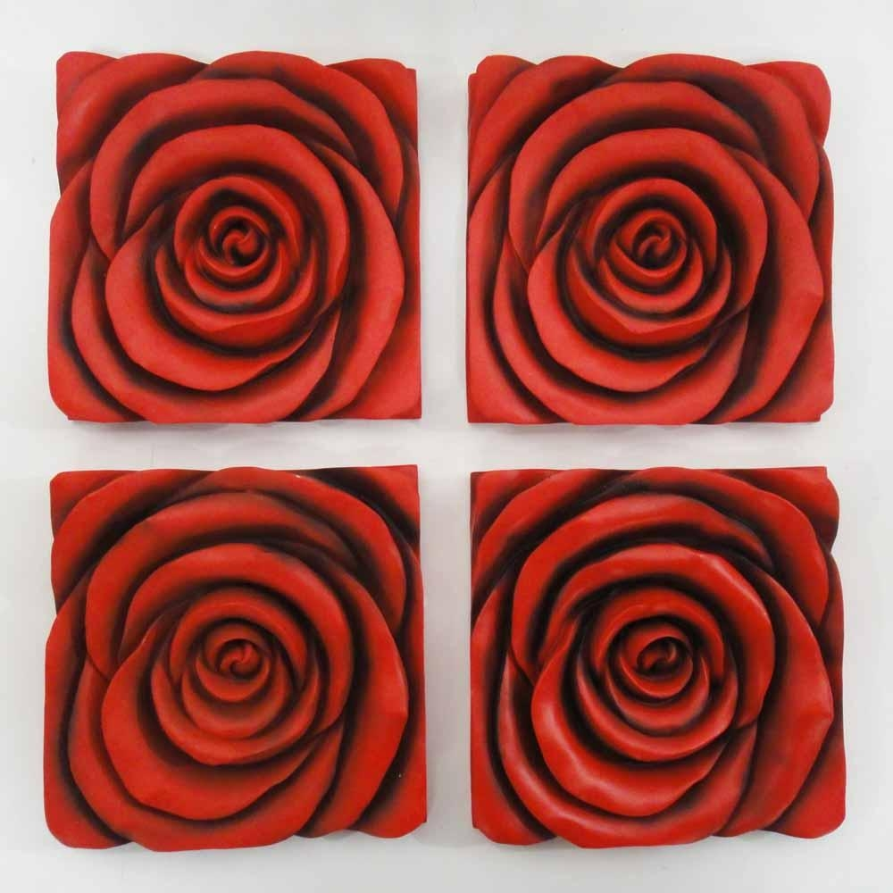 Resin Wall Art – Red Rose In Bloom 4 Panel Set Throughout Red Rose Wall Art (Image 20 of 20)