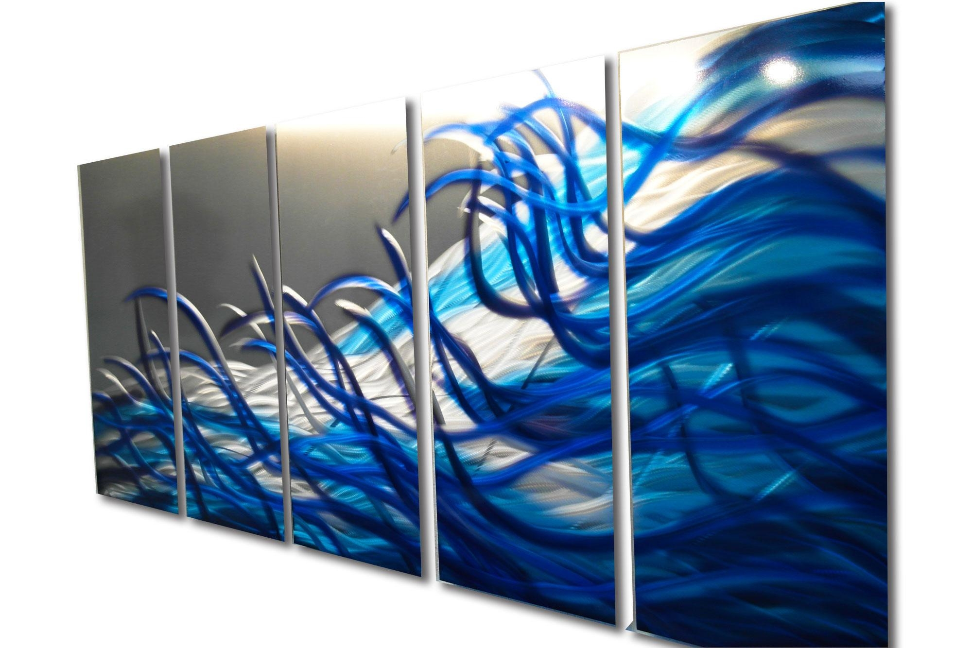 Resonance Blue 36X79- Metal Wall Art Contemporary Modern Decor in Blue And White Wall Art