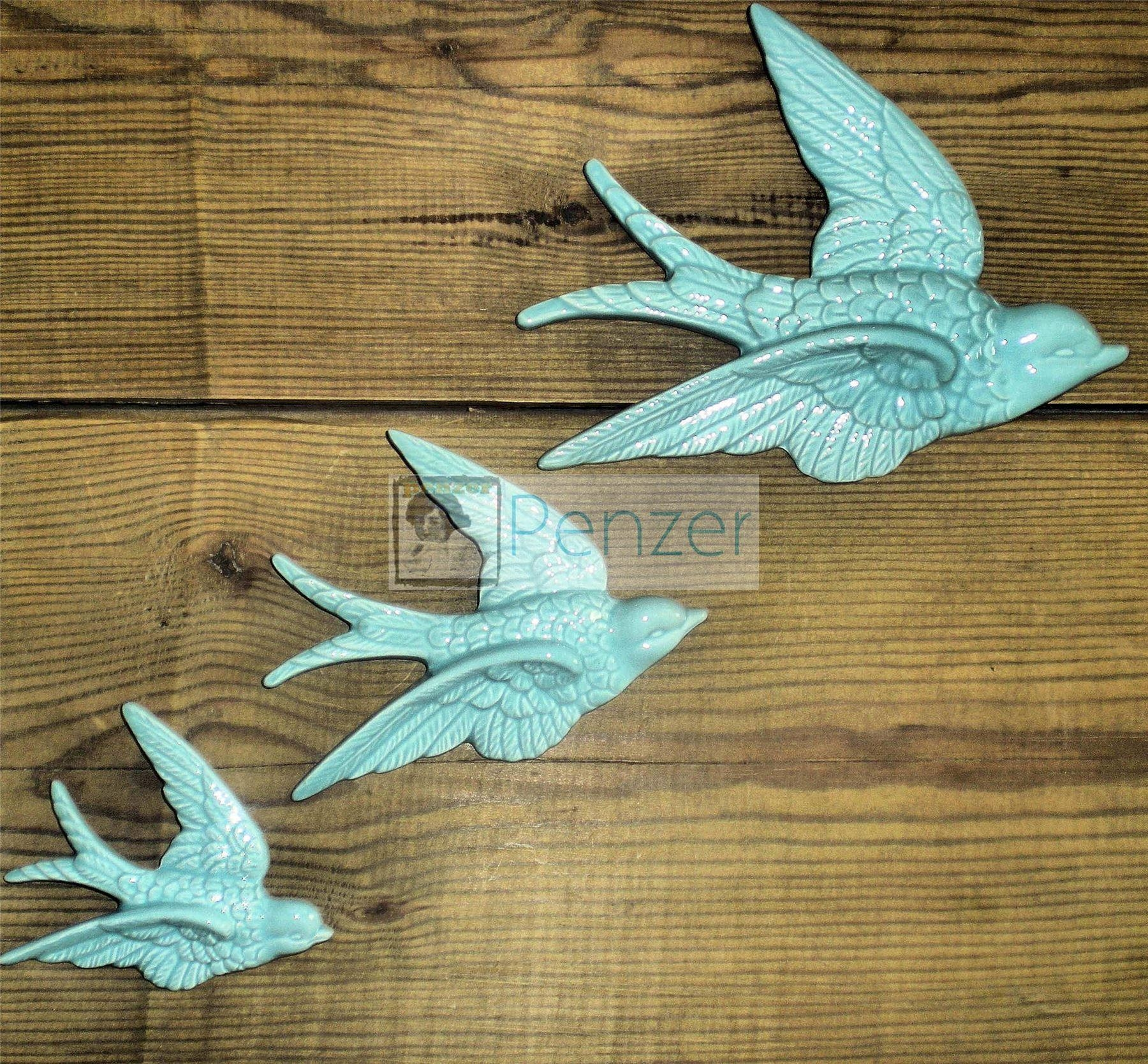 Retro 3 Flying Swallows Ducks Wall Hanging Decoration Shabby Vtg Throughout Ceramic Bird Wall Art (View 13 of 20)