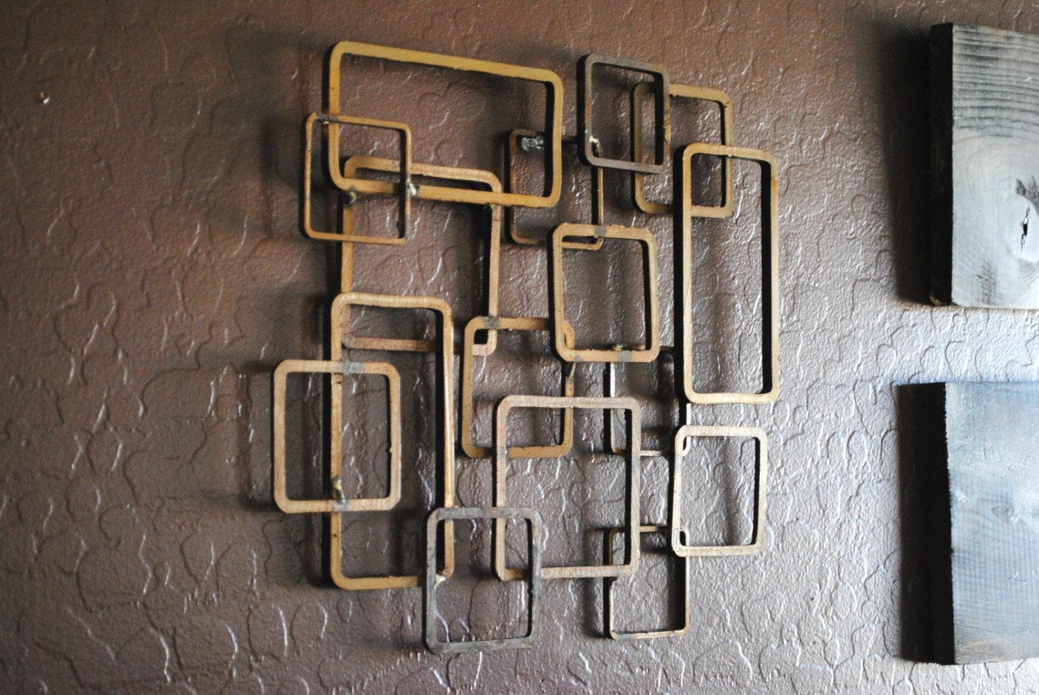 Retro Modern Metal Sculpture Art Abstract Mid Century For Contemporary Metal Wall Art Sculpture (Image 13 of 20)