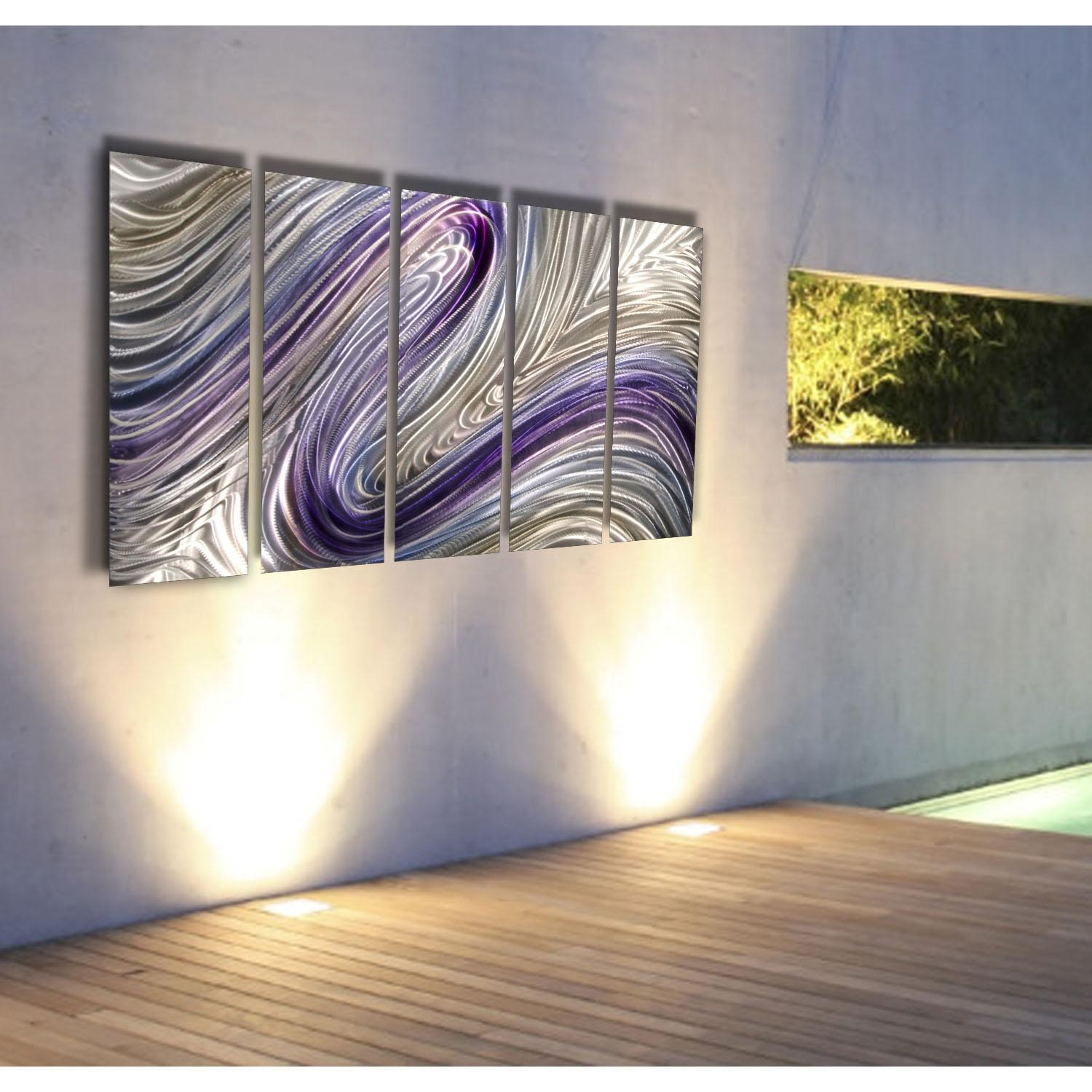 Reverie – Purple, Silver And Gold Metal Wall Art – 5 Panel Wall Intended For Silver And Gold Wall Art (View 6 of 20)