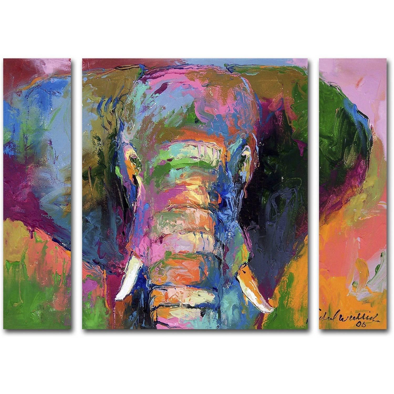 "Richard Wallich ""elephant 2"" Multi Panel Art Set - Walmart within Large Canvas Wall Art Sets"