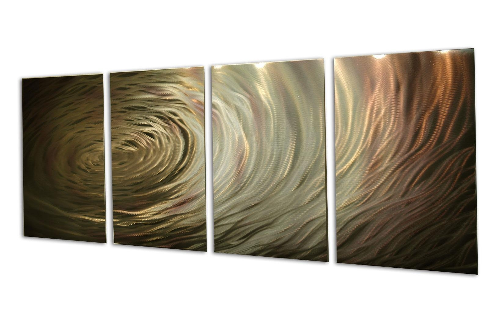 Ripple Brown Gold Metal Wall Art Abstract Sculpture Modern Decor With Metal Abstract Wall Art (View 18 of 20)