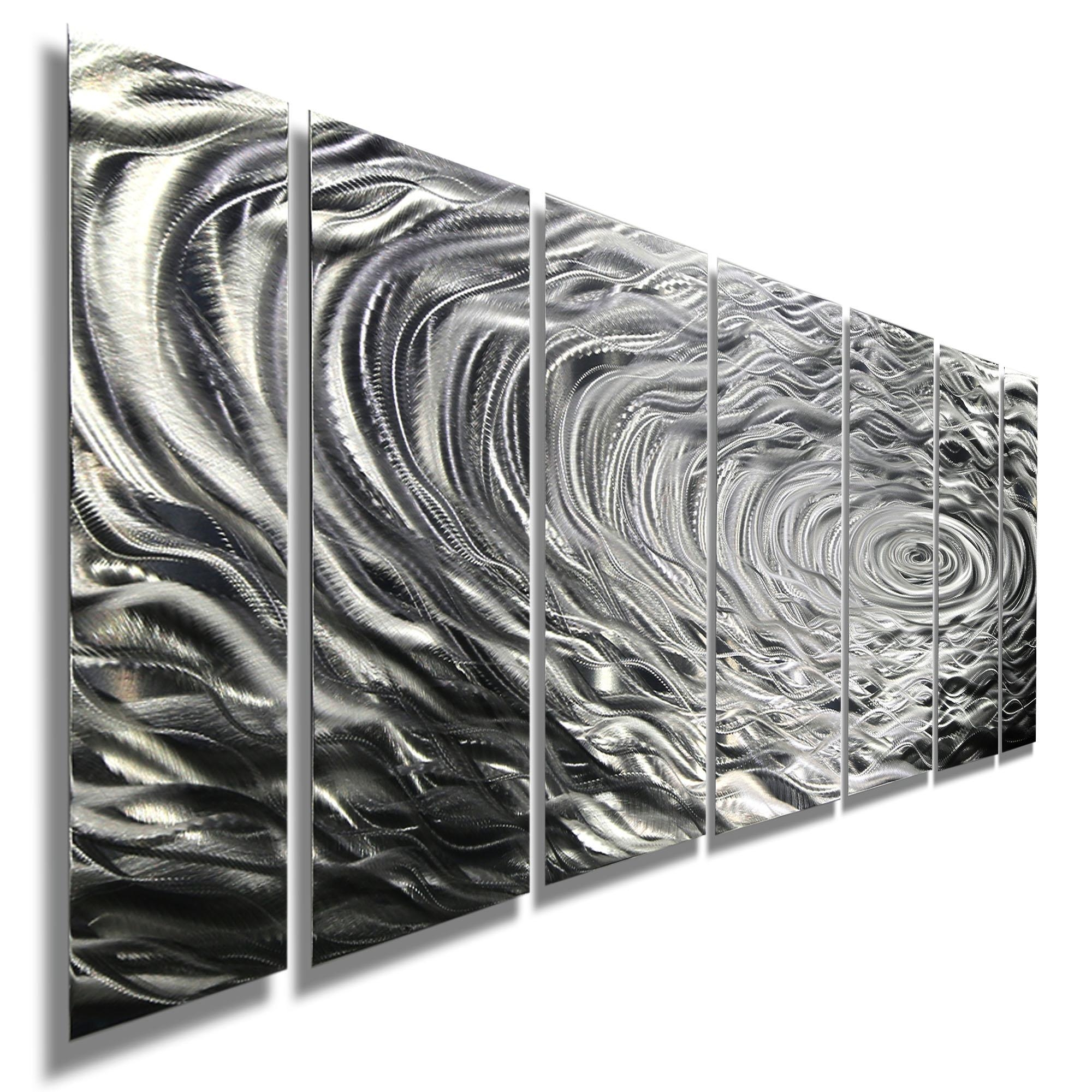 Ripple Effect Xl – Silver Abstract Corporate Metal Wall Art Decor Inside Black Silver Wall Art (View 4 of 20)
