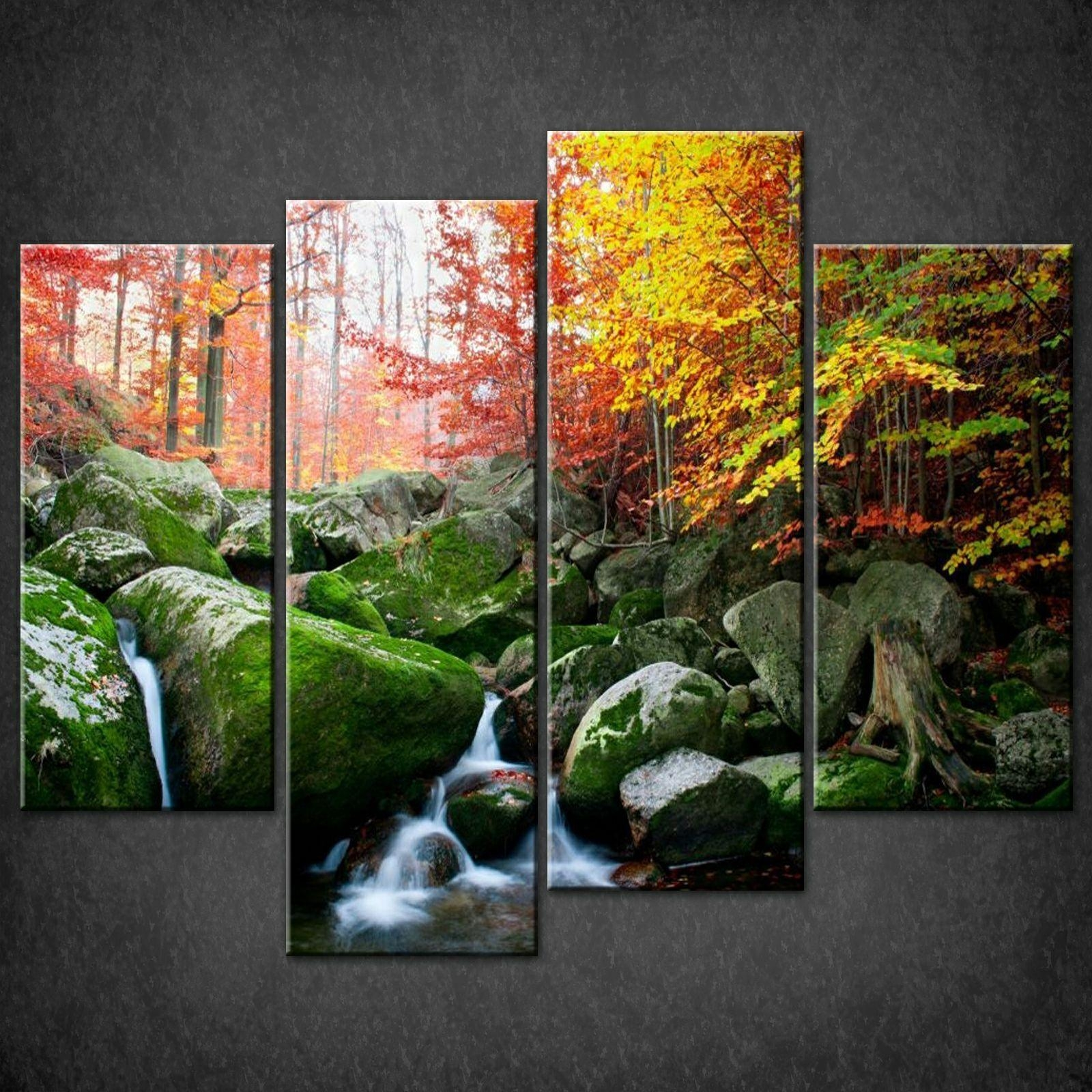 River Autumn Forest Split Canvas Wall Art Pictures Prints Larger Regarding Split Wall Art (View 14 of 20)