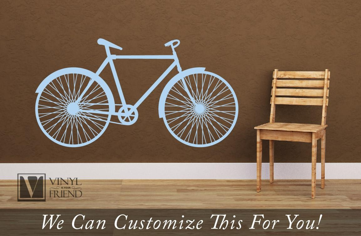 Road Bicycle Retro Vintage Wall Vinyl Decal Graphic A Sports Wall Intended For Bicycle Wall Art Decor (View 9 of 20)