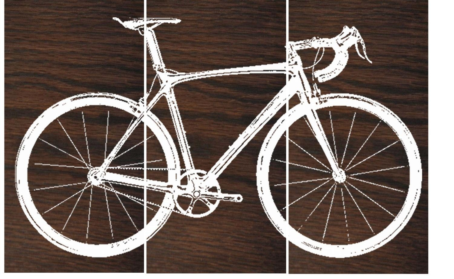 Road Bike / Street Bike Wall Art / Bicycle Screen Print / With Metal Bicycle Art (Image 16 of 20)