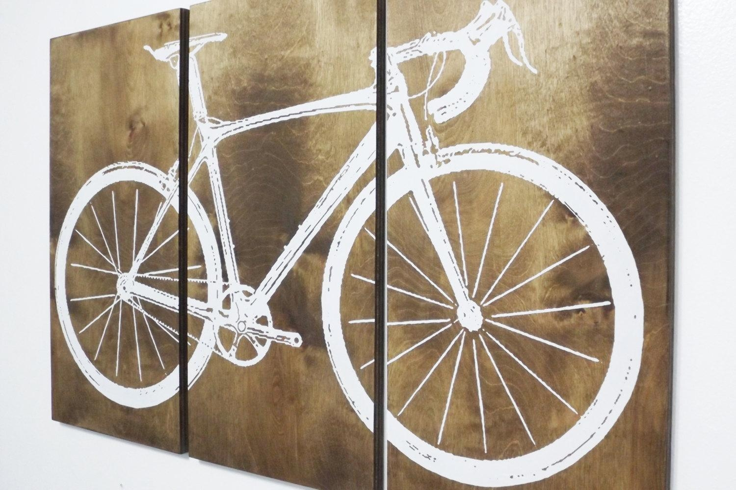Road Bike / Street Bike Wall Art / Bicycle Screen Print / Wood Regarding Bike Wall Art (Image 14 of 20)