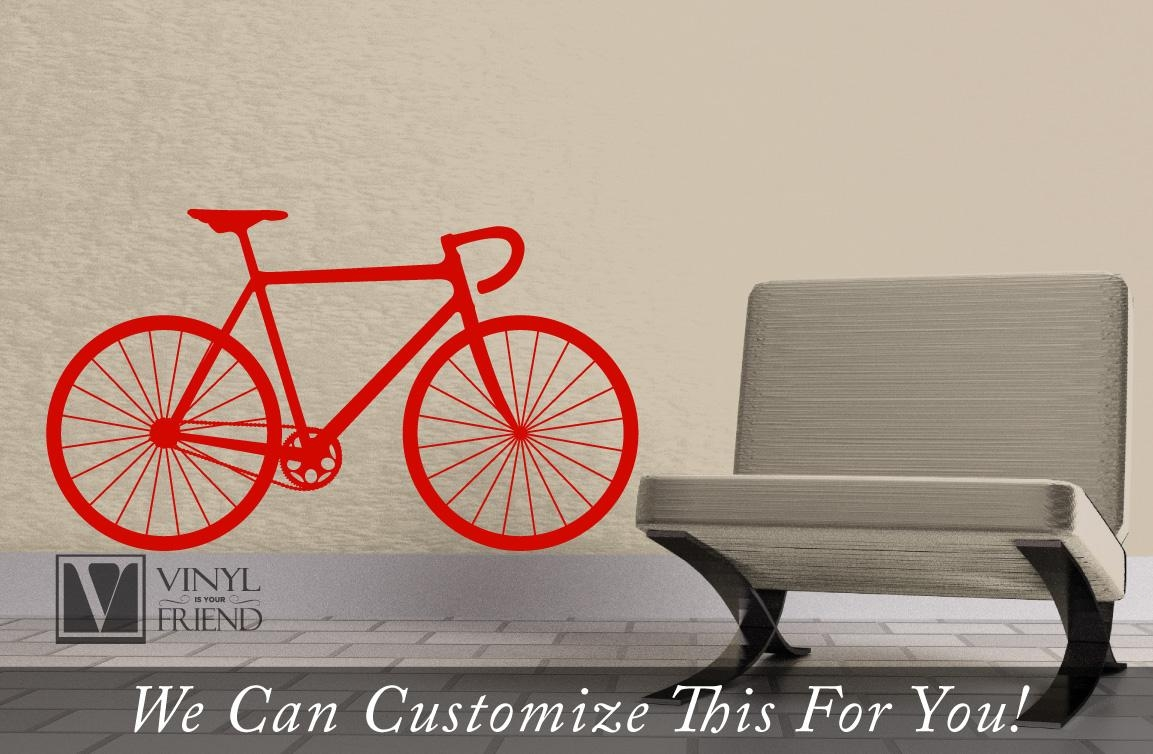Road Race Bicycle Wall Vinyl Graphic Art A Sports Wall Decor For Throughout Bicycle Wall Art Decor (Image 17 of 20)