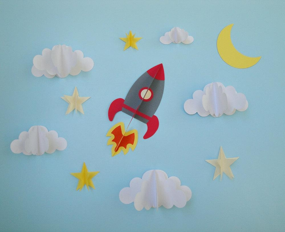Rocket Ship 3D Wall Decals Wall Decor Wall Art Boy's with regard to 3D Clouds Out of Paper Wall Art