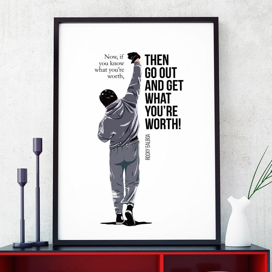 Rocky Balboa Art Print Rocky Balboa Quotes Vector Art Print Throughout Rocky Balboa Wall Art (View 17 of 20)