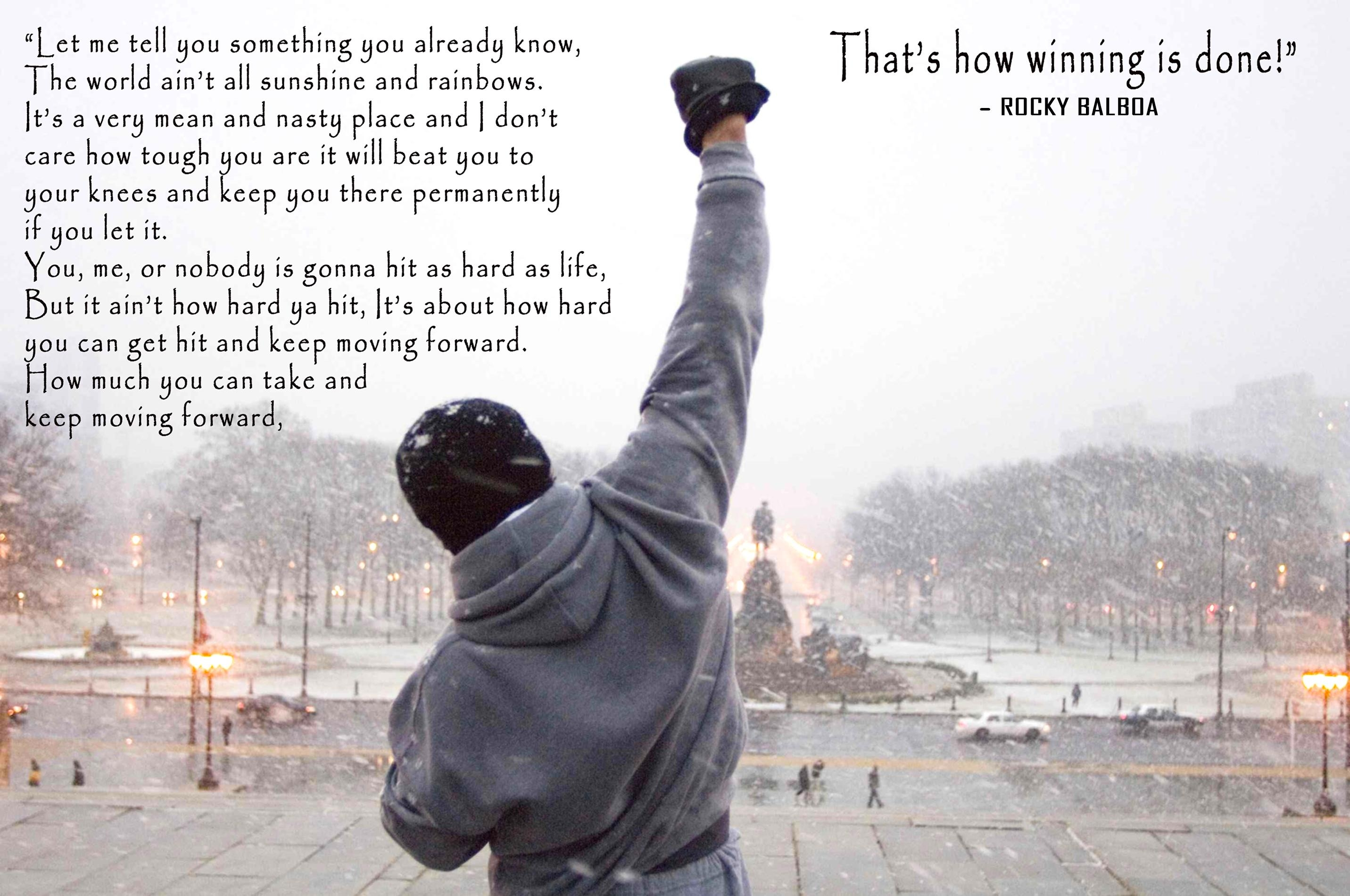Rocky Balboa Boxing Sport Inspirational Quote On Canvas Wall Art inside Rocky Balboa Wall Art