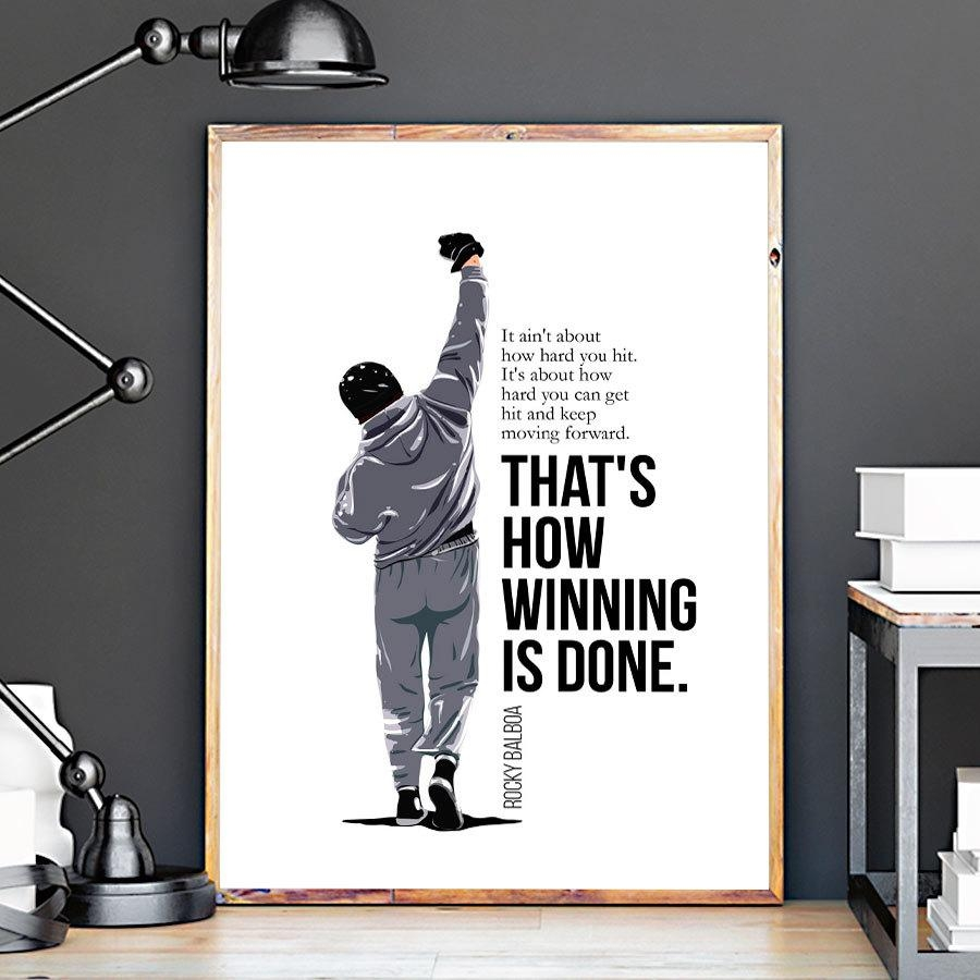 Rocky Balboa Vector Art Print Rocky Balboa Quotes Movie Inside Rocky Balboa Wall Art (Image 17 of 20)