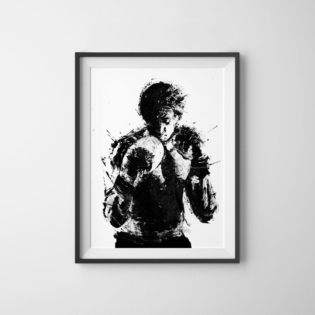 Rocky Movie Poster Art Print Black And White Art Boxing throughout Rocky Balboa Wall Art